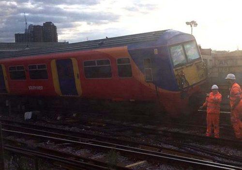 Train derails outside London Waterloo station