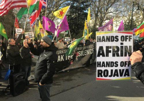 Britanya'da Afrin protestoları düzenlendi