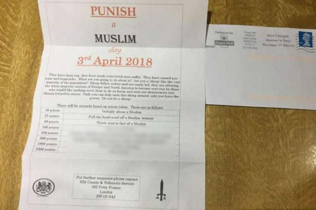 White supremacist who shared 'Punish a Muslim day' leaflets was inspired by US mass murder