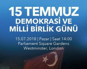 15 Temmuz Londra'da anılacak