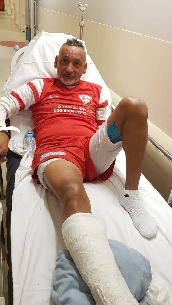 LTM'nin başkan-futbolcusunun ayağı kırıldı