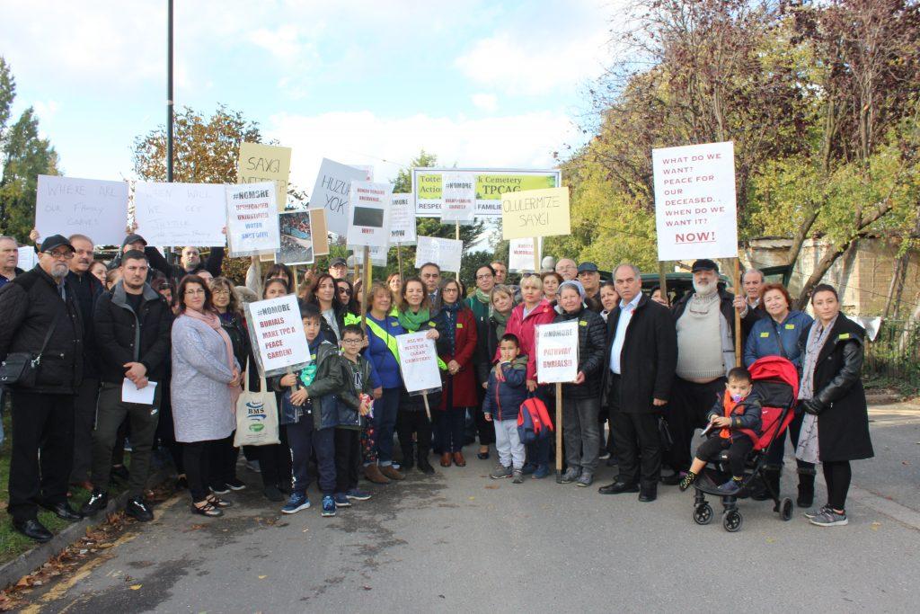 Protest held outside Tottenham Park Cemetery