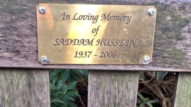 Saddam Hussein memorial plaque on London bench
