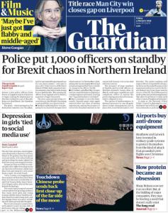 """The Guardian """"Kuzey İrlanda'da Brexit kaosu için bin polis hazırda bekletiliyor"""""""