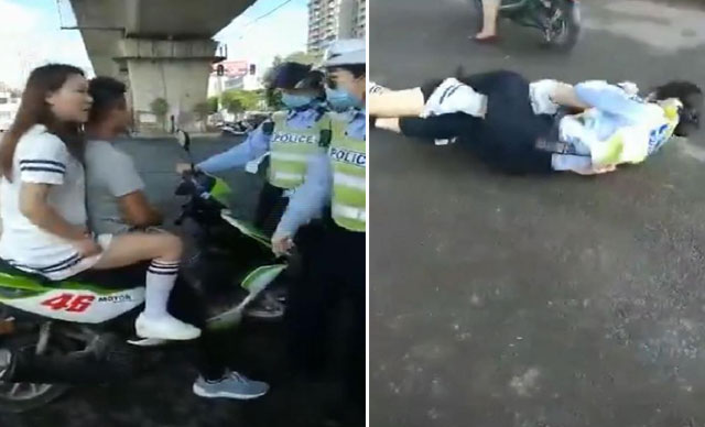 Kadın polis, durdurduğu sürücünün eşi ile saç baş birbirine girdi