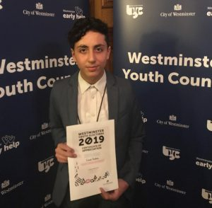 Civan Terbas was named Westminster's 'Young MP'