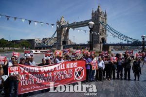 Protesters gather in front of London City Hall against knife crime
