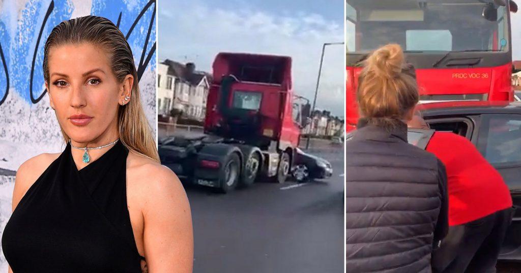 TIR önünde aracı ile sürüklenen adamı İngiliz şarkıcı kurtardı