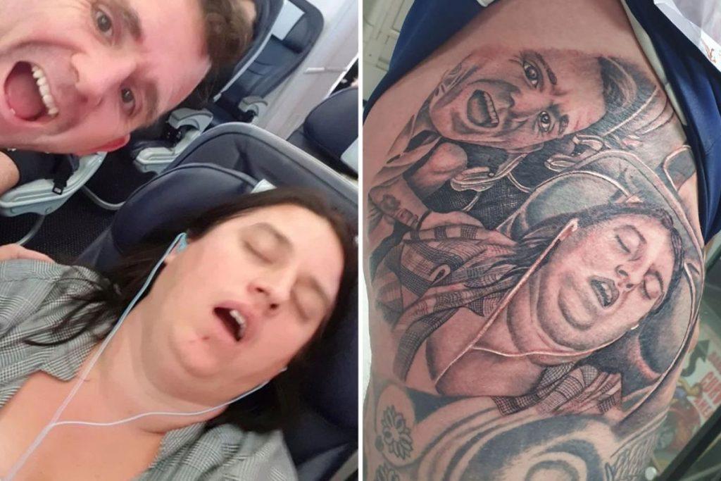 Uyuya kalan eşinin fotoğrafını intikam için dövme yaptırdı