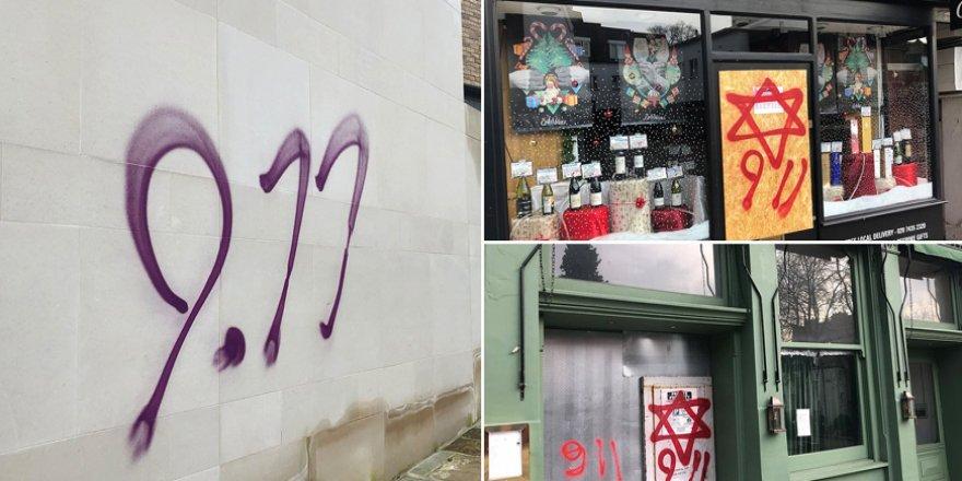 Kuzey Londra'da bazı dükkanların camlarına ve sokaklara Yahudi karşıtı graffitiler çizildi