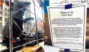 Sendikasız işçi çalıştıran Nusret, New York'ta protesto edildi