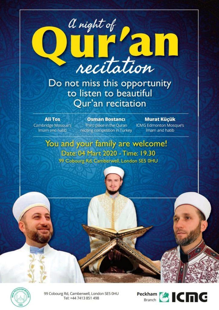 Quran recitation event being held at New Peckham Mosque