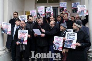 Türkiye'nin İdlib Operasyonu ve Suriyeli mültecilere destek için elçilik önünde eylem