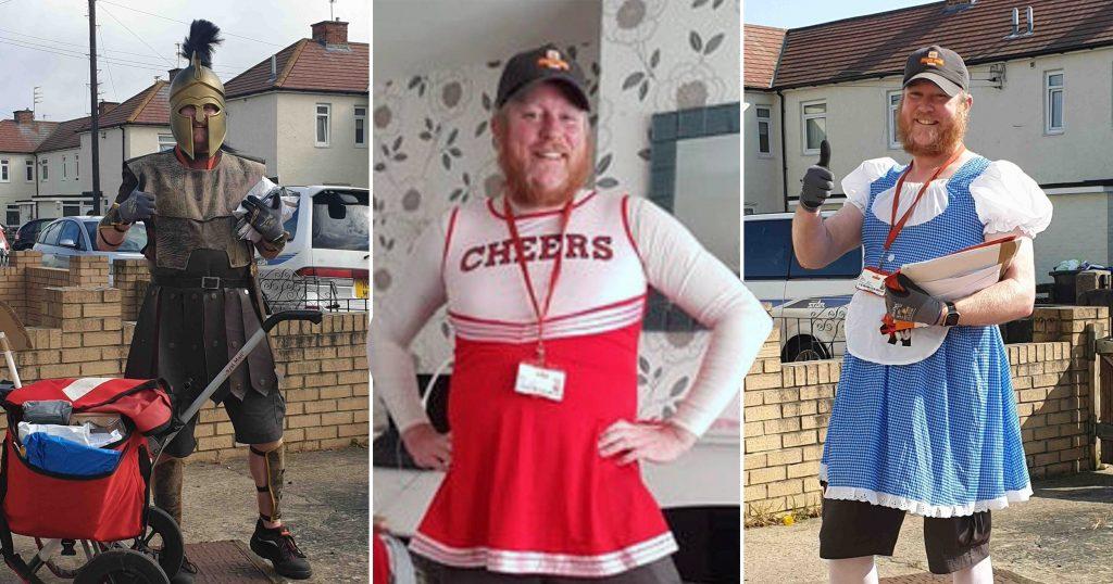 İngiliz postacı karantinadaki insanları neşelendirmek için kılıktan kılığa giriyor