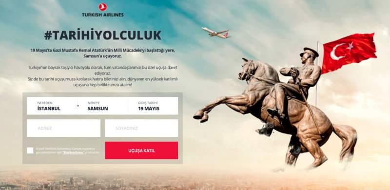19 Mayıs için sembolik İstanbul-Samsun uçuşu gerçekleştirecek olan THY dünyanın en büyük uçuşuna imza atmayı hedefliyor