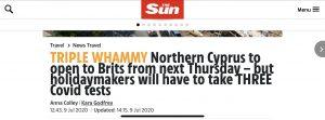 """The Sun: """"Kuzey Kıbrıs önümüzdeki perşembe İngilizlere açılacak – ancak üç PCR testi yaptıracak"""""""