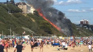Fire leaves sunbathers fleeing beach in Bournemouth