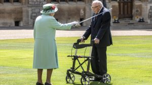 Captain Sir Tom Moore knighted as Queen comes out of lockdown