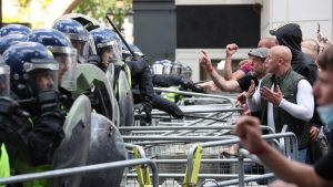 Protestor jailed after attack on police at London rally