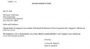 Medya patronu Rupert Murdoch'ın oğlu James, News Corp'unidari heyetinden istifa etti
