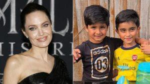 Angelina Jolie Yemen'deki çocuklara para yardımı toplamak için limonata satan çocuklara bağış yaptı