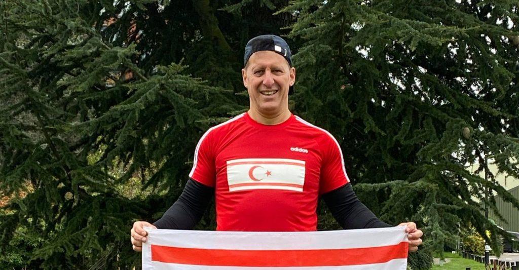 Okan Baysan continues to fly the TRNC flag