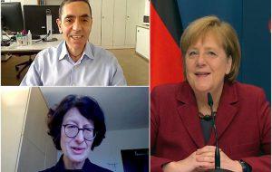 Merkel, Uğur Şahin ve Özlem Türeci ile görüştü: Sizinle gurur duyuyoruz