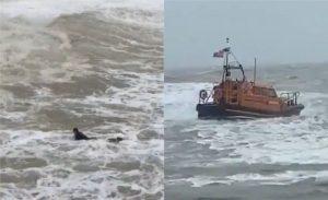 İngiltere'de genç sörfçü, dalgaların arasından böyle kurtarıldı