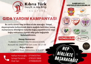 Kıbrıs Türk Gençlik ve Aile Birliği İngiltere, gıda yardım kampanyası başlattı