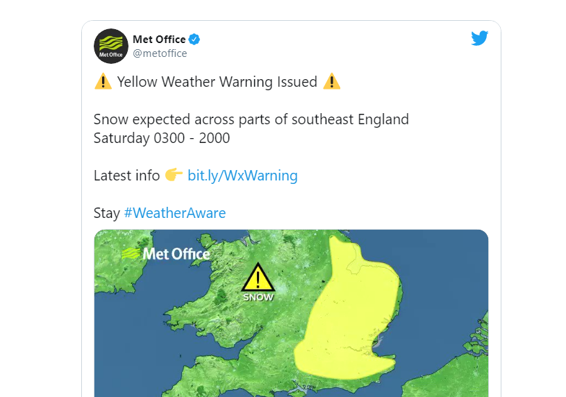 Met Office issues Snow alert for London and South East