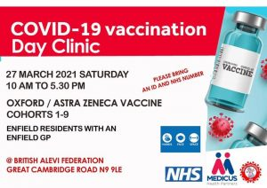 Enfield mahalle doktoruna olan kişiler bugün Britanya Alevi Federsayonu'nda aşı yaptırabilir
