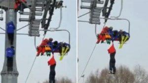 Telesiyejde asılı kalan turist metrelerce yüksekten aşağı düştü