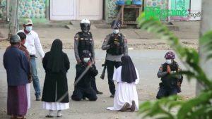 Rahibe, askerlerin karşısında diz çöktü