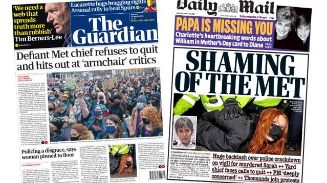 Everard cinayeti: İngiltere basınında, anma etkinliğine polis müdahalesi manşetlerde: 'Utanç verici'