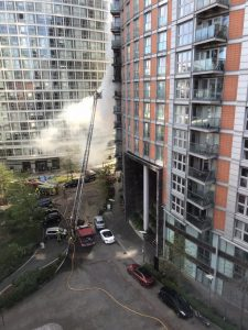 Fire breaks out at 19-storey tower block with 'Grenfell-type cladding'