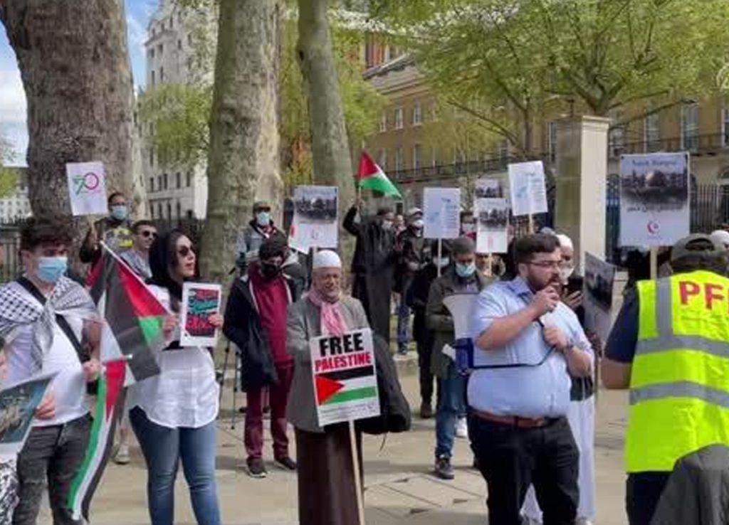 İngiltere'de Filistinliler'e destek protestosu