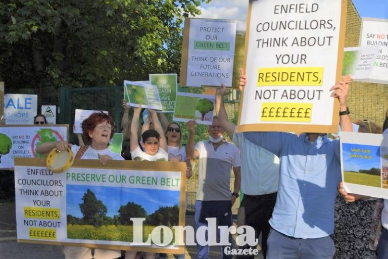 Community members joined protest against proposal development on Enfield green belt