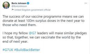 Johnson'dan G7 aşı programı açıklaması