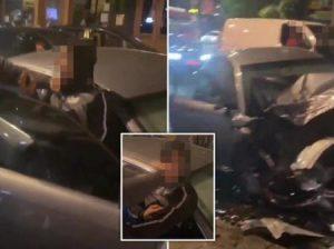 Sürücü, araba çarpmasından sonra tekrar tekrar başka bir sürücüyü tokatladı