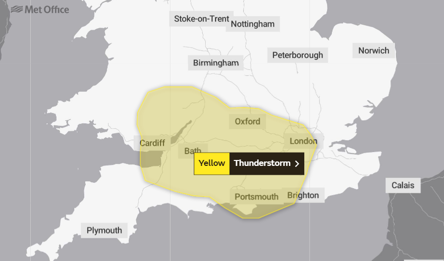 Weather warning issued for London with thunderstorms expected and risk of flooding