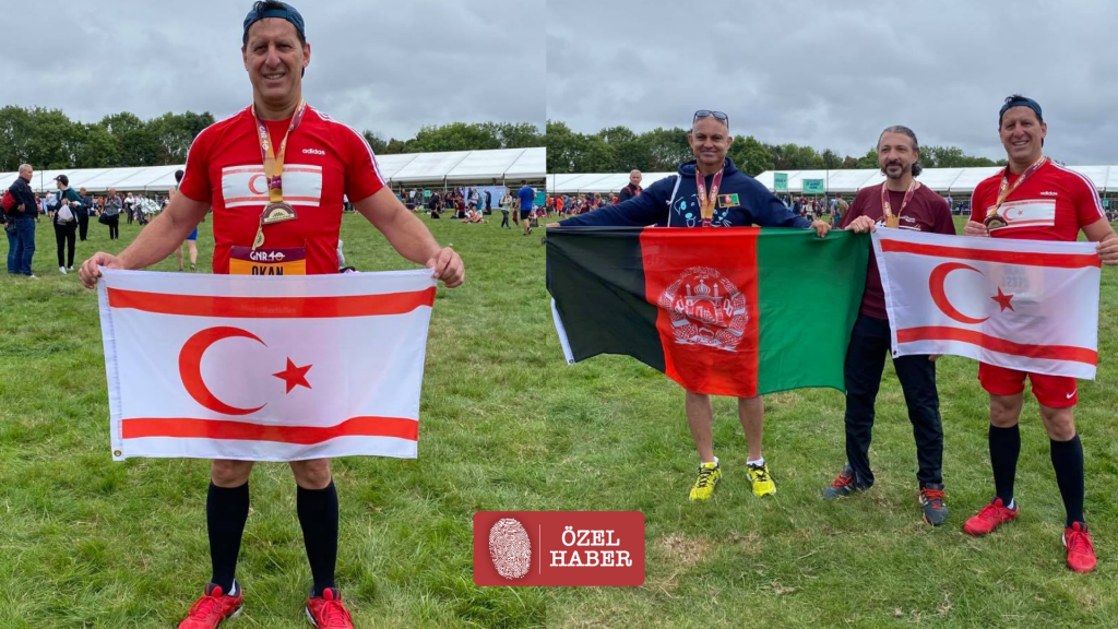 Okan Baysan waves the TRNC flag in the 'Great North Run'